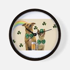 St. Patrick's Day Chihuhuas Wall Clock