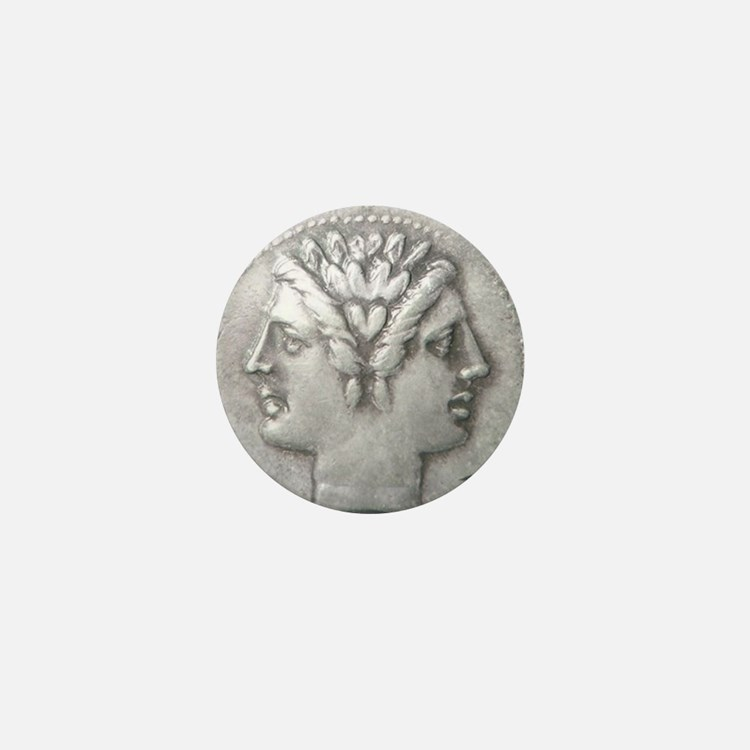 Ancient Coin Showing Janus Round Charm Mini Button