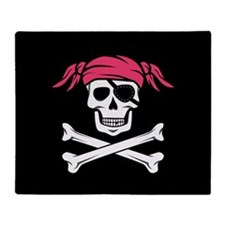 Pink Pigtail Pirate Jolly Roger Throw Blanket