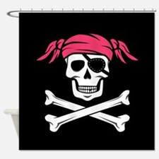 Pink Pigtail Pirate Jolly Roger Shower Curtain