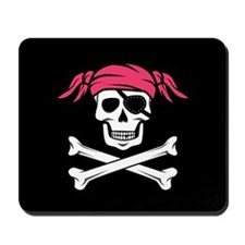 Pink Pigtail Pirate Jolly Roger Mousepad