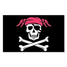 Pink Pigtail Pirate Jolly Roger Decal