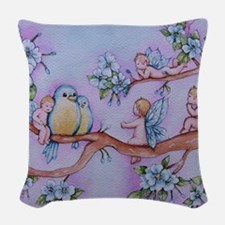Blossom Fairies Woven Throw Pillow