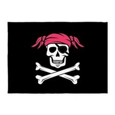 Pink Pigtail Pirate Jolly Roger 5'x7'Area Rug