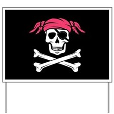 Pink Pigtail Pirate Jolly Roger Yard Sign