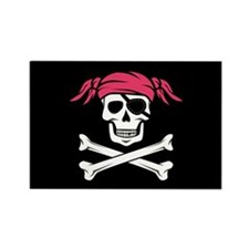 Pink Pigtail Pirate Jolly Roger Magnets