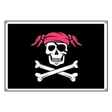 Pink Pigtail Pirate Jolly Roger Banner
