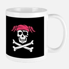 Pink Pigtail Pirate Jolly Roger Mug