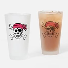 Pink Side-Ponytail Pirate Drinking Glass