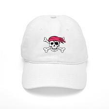 Pink Side-Ponytail Pirate Baseball Baseball Cap