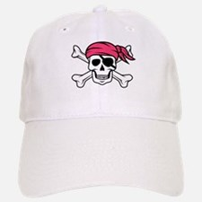 Pink Side-Ponytail Pirate Baseball Baseball Cap
