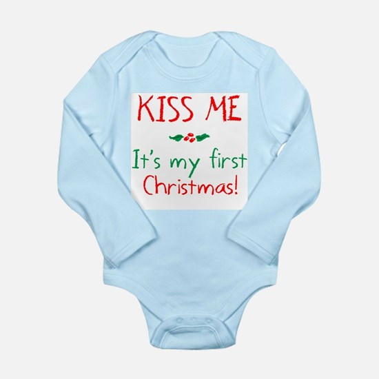Kiss Me It's My First Christmas Body Suit