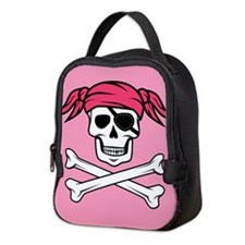Pink Pigtail Pirate Jolly Roger Neoprene Lunch Bag