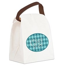 Gigi Turquoise Polkadots Canvas Lunch Bag