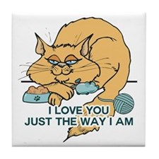 I Love You Funny Cat Graphic Tile Coaster