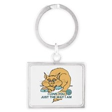 I Love You Funny Cat Graphic Landscape Keychain