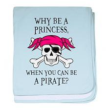 Pink Princess Pigtail Pirate baby blanket
