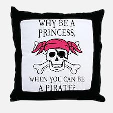 Pink Princess Pigtail Pirate Throw Pillow