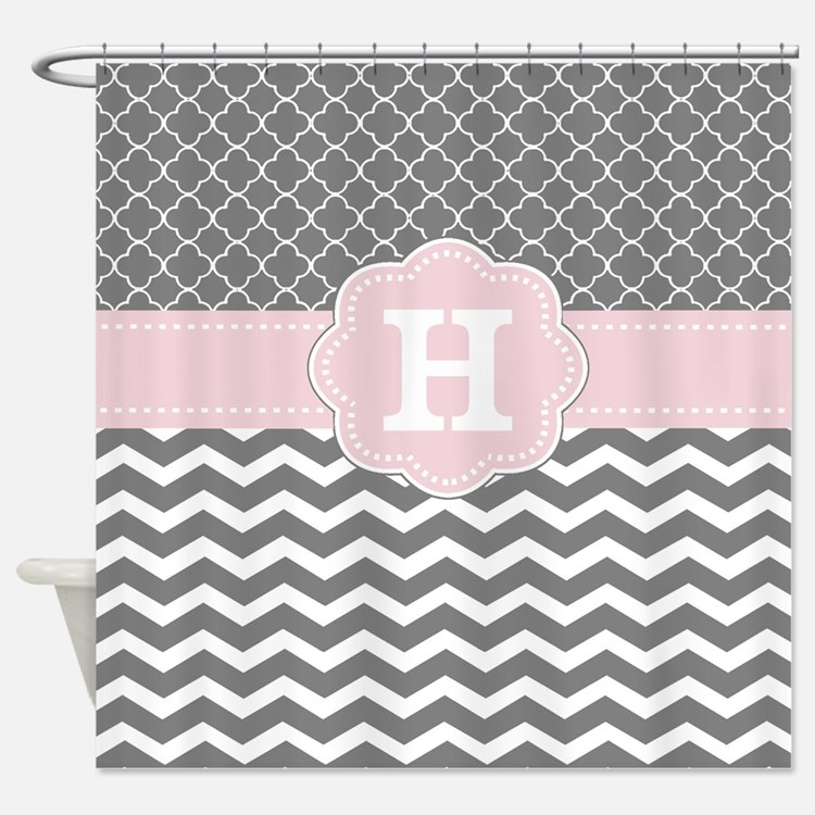 Light Pink Gray Shower Curtains | Light Pink Gray Fabric Shower ...