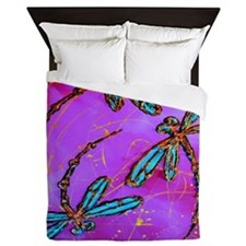 Dragonfly Flit Electric Pink Queen Duvet