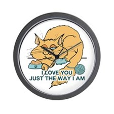 I Love You Funny Cat Graphic Saying Wall Clock