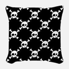 Whimsical Skull & Crossbones P Woven Throw Pillow