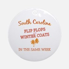 South Carolina Weather - Flip Flops Round Ornament