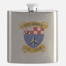 USS SAMPLE FF-1048 SHIPS CREST Flask