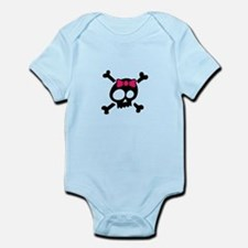 Whimsical Skull & Crossbones Pink Bow Body Suit