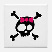Whimsical Skull & Crossbones Pink Bow Tile Coaster