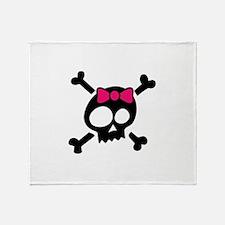 Whimsical Skull & Crossbones Pink Bo Throw Blanket