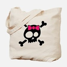 Whimsical Skull & Crossbones Pink Bow Tote Bag