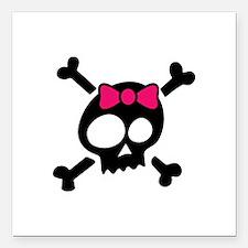 """Whimsical Skull & Crossb Square Car Magnet 3"""" x 3"""""""