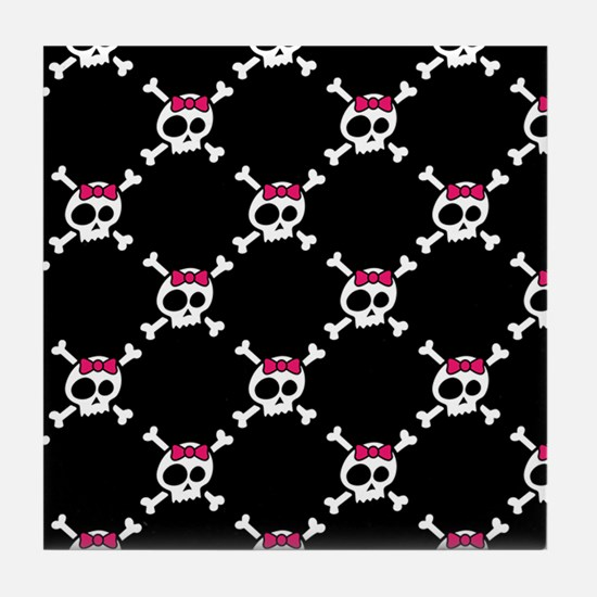 Whimsical Skull & Crossbones w/Bow Tile Coaster