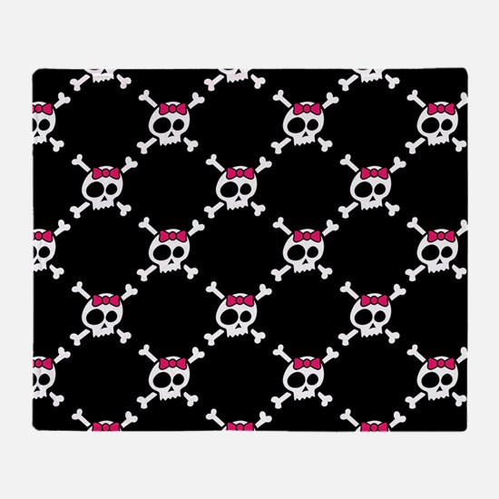 Whimsical Skull & Crossbones w/Bow Throw Blanket