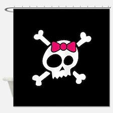 Whimsical Skull & Crossbones w/Bow Shower Curtain