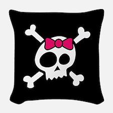 Whimsical Skull & Crossbones w Woven Throw Pillow