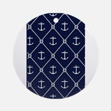 Navy Anchor & Knot Ornament (Round)