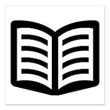 "Open Book Square Car Magnet 3"" x 3"""