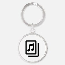 Sheet Music Round Keychain