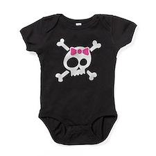 Whimsical Skull & Crossbones w/Bow Baby Bodysuit