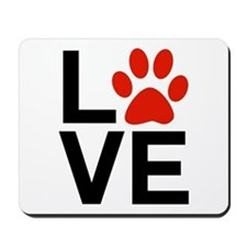 Love Dogs / Cats Pawprints Mousepad