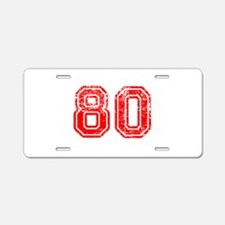 80-Col red Aluminum License Plate
