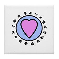 heart love flower Tile Coaster