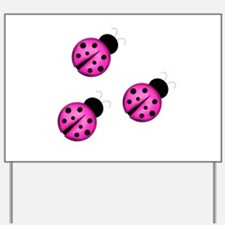 Pink Black Ladybugs Yard Sign