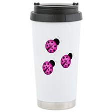 Pink Black Ladybugs Travel Mug