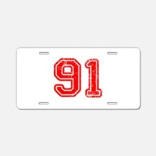 91-Col red Aluminum License Plate