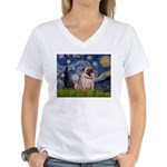 Starry Night and Pug Women's V-Neck T-Shirt