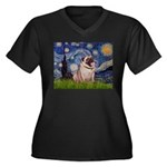 Starry Night and Pug Women's Plus Size V-Neck Dark