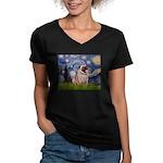 Starry Night and Pug Women's V-Neck Dark T-Shirt